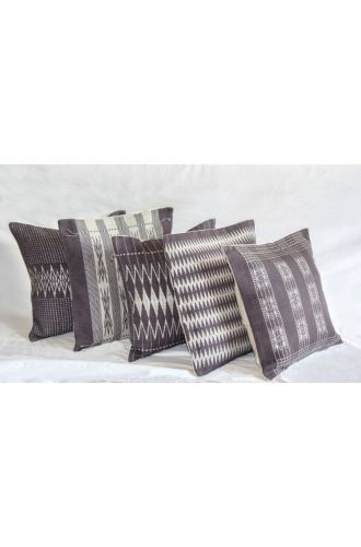 Handwoven Pamo Grey and White Tribal Cushion Cover