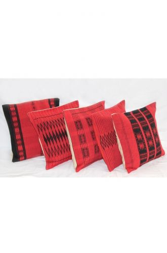 Handwoven Pamo Red and Black Tribal Cushion Cover