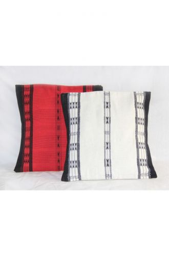 Handwoven Khonoma Red and Black Tribal Cushion Cover