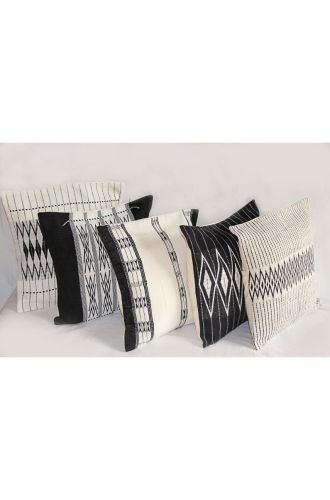 Handwoven Andean Black and White Tribal Cushion Cover