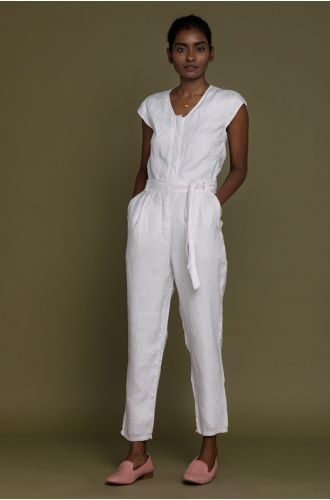 Evening Chai Jumpsuit In Coconut White
