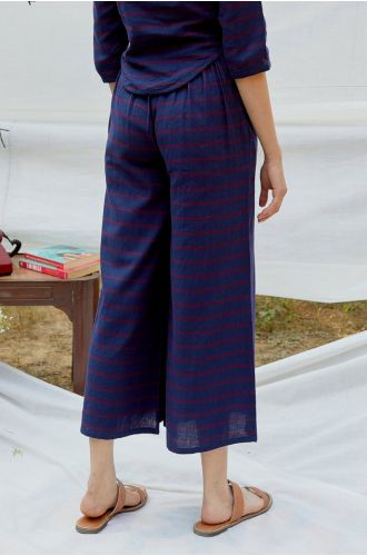 Blue Red Cotton Twill Stripe Pant