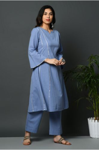 A-Line Kurta With Gota Inserts And Bell Sleeves