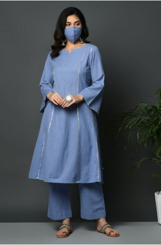 A-Line Kurta With Gota Inserts And Bell Sleeves And Straight Pants