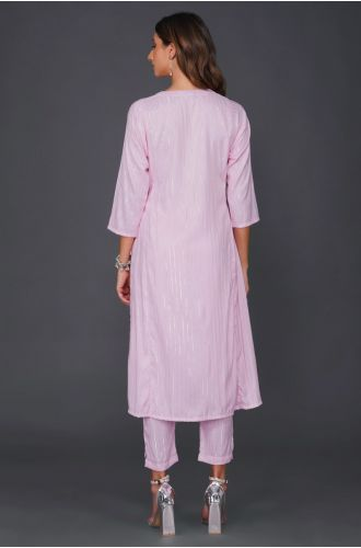 Fabnest womens candy pink cotton linen lurex straight loose fit kurta and coordinated lurex straight pants with pockets