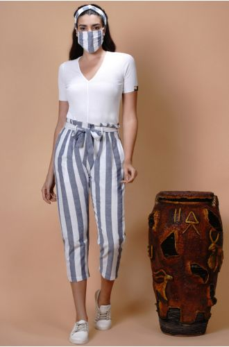 Striped High Waist Belted Pants