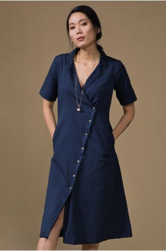 Crisp Overlap Blue Dress