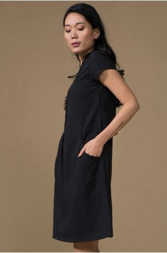 Noir Button-Down Dress