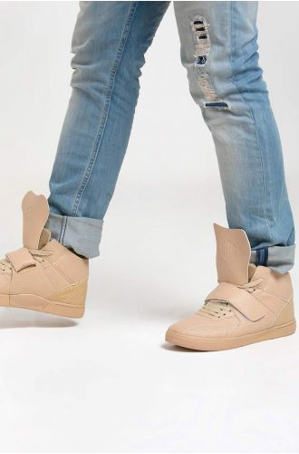 ABG BEIGE LOW DUNK LACE-UP CASUAL SHOES