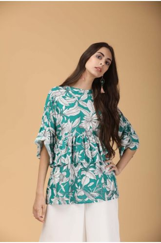 Green Forest Ruffled Top