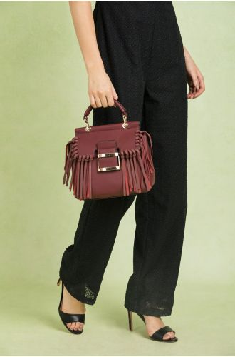 Marsala Fringe Satchel Bag