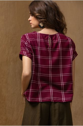 Embroidered Graph Maroon Top