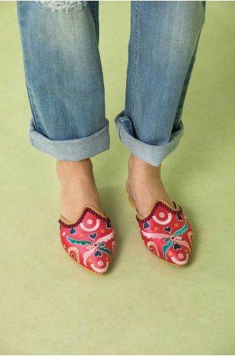Sherbet Beaded Mules
