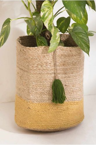 Yellow Jute Tasseled Plant Holder