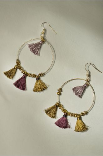 Golden Tasseled Hoops