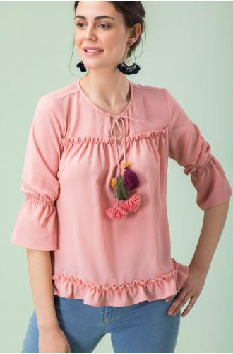 Pink Pleated Top