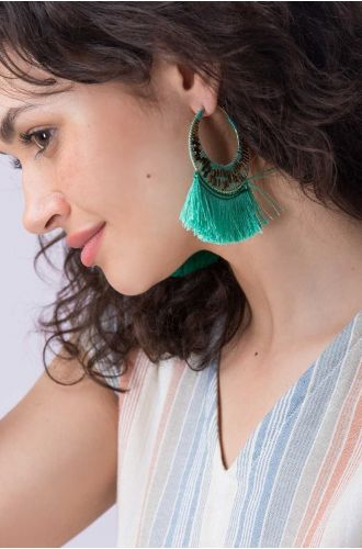 Seagreen Tassel Earrings
