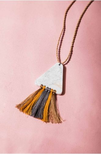 Sandy Hues Tassel Necklace