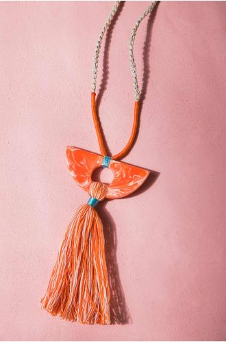 Peach Mood Tassel Necklace