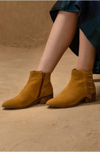 Mustard Fringed Boots