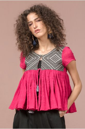 Mexican Pink Jacquard Cover Up