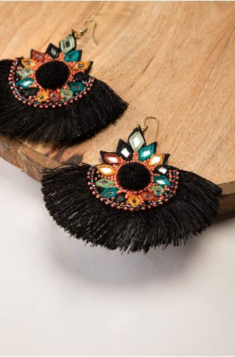 Gatsby Black Earrings