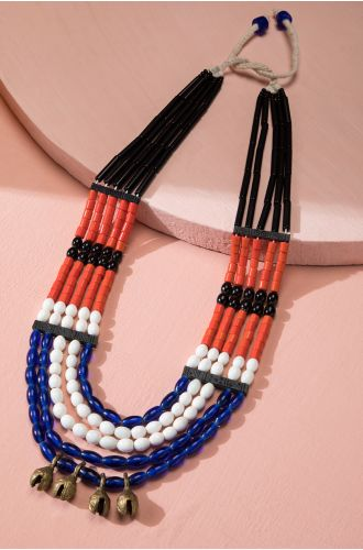BLUE OPAL MULTICOLOURED TRIBAL NECKLACE