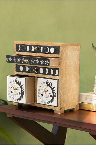 All Her Faces Wooden Cabinet