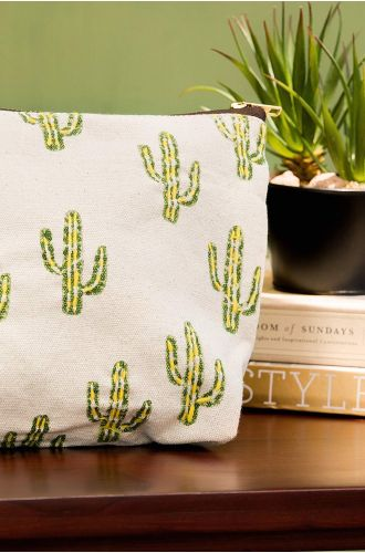 Cactuses Embroidered Pouch