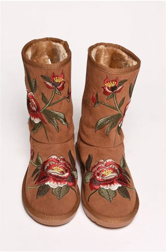 Tan Embroidered Shearling Boots