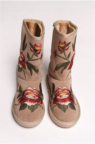 Beige Embroidered Shearling Boots