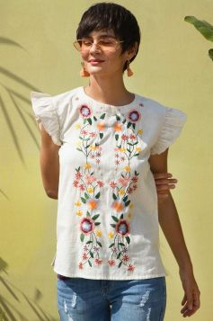 Summer Blossom Embroidered Top