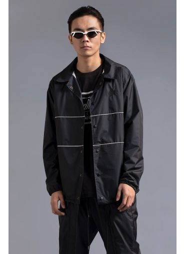 ABG Black Casual Twist PARDHAAN Oversized Track Jacket