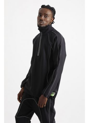 ABG Black With Reflective Piping BEING MY SELF Sweat Jacket