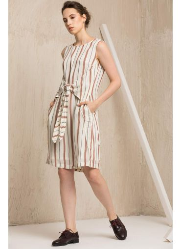 C&C- Striped tie-up dress