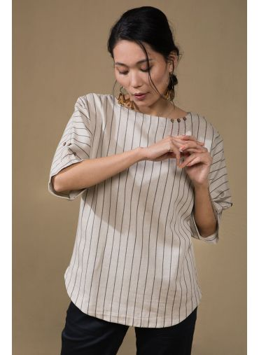Triple Button Beige Top