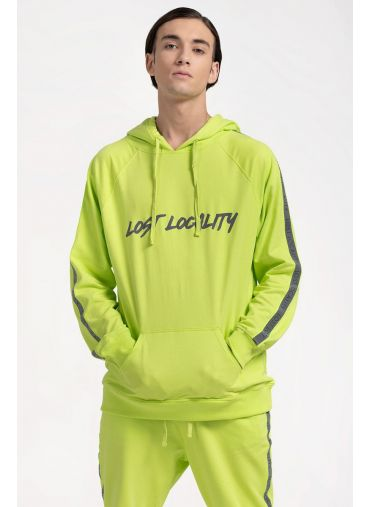 ABG Neon Green Reflective Transfer Print LOST LOCALITY Pullover Hoodie