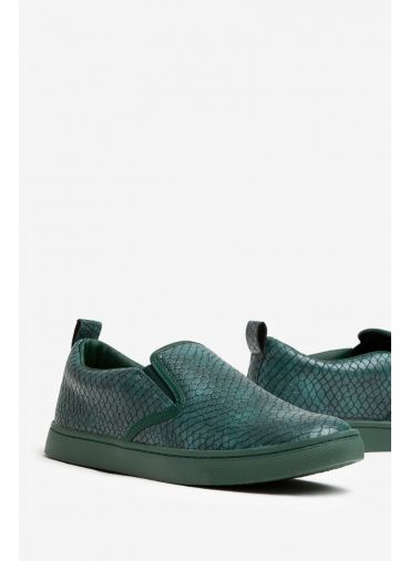 ABG Green Textured Casual Slip-On Shoes