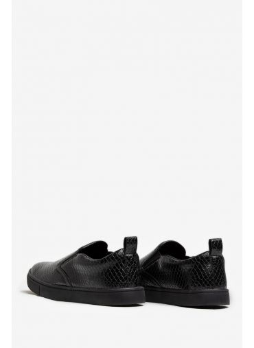 ABG GLOSSY BLACK TEXTURED CANVAS SLIP-ON SHOES