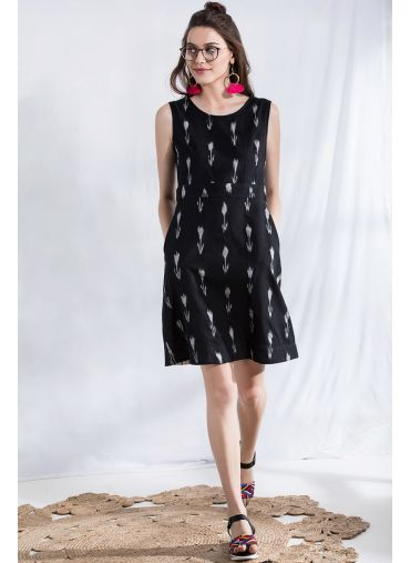Pitch-Dark Ikat Dress