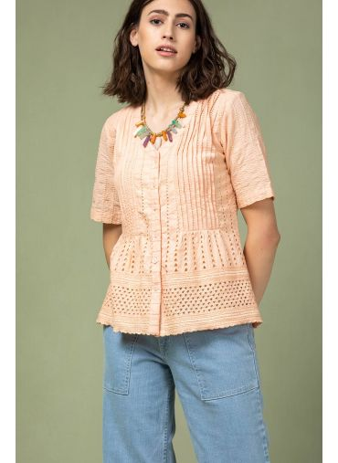 Peach Blossom Cutwork Top