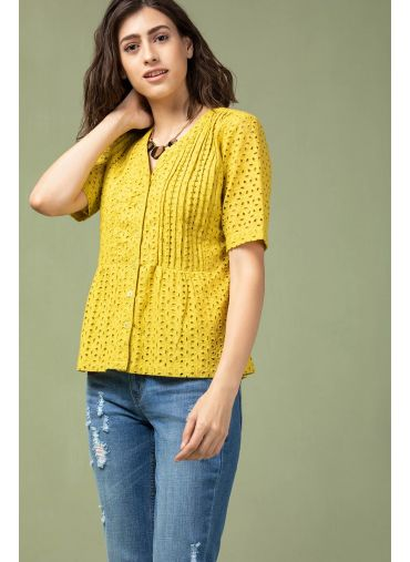 Antique Yellow Cutwork Top