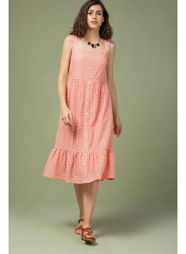 Flamingo Pink Ruffle Dress