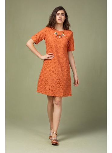 Rust Cutwork Dress