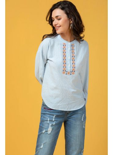 Porcelain Embroidered Top