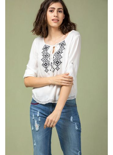 Snow Frost Embroidered Top