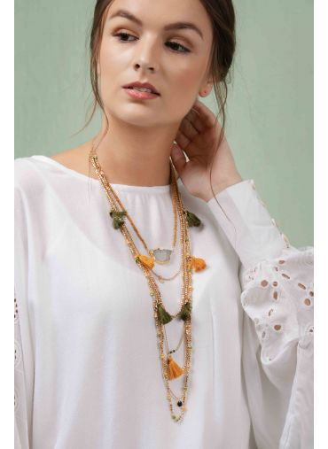 Tassel & Agate Layered Necklace