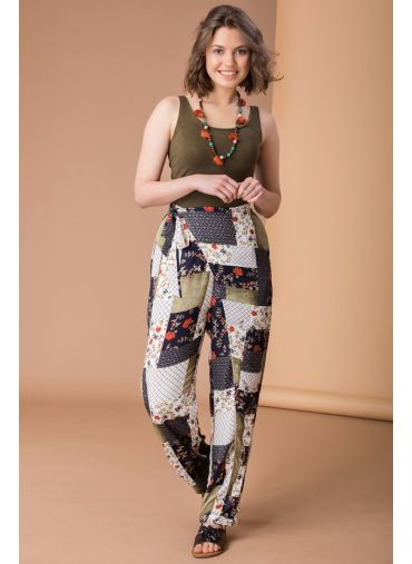 Olive Patchwork Wrap Pants