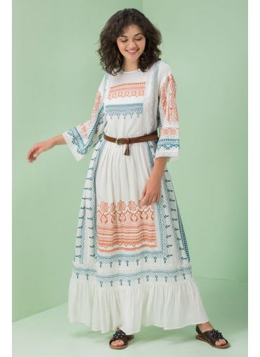 Moroccan White Tiered Dress