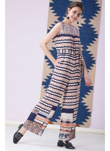 Night Blue Printed Jumpsuit